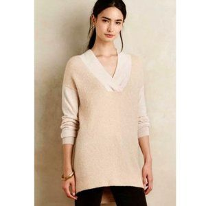 Anthropologie Moth Boucle Cream V Neck Sweater